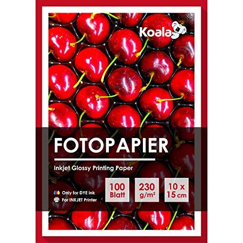 Koala Glossy Fotopapier 100mmx150mm 100 Blatt Kompatibel mit allen Tintenstrahldruckern 230 gsm
