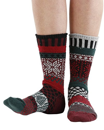 Solmate Socks - Odd or Mismatched Crew Socks for Women or for Men, Made with Recycled Cotton Yarns in USA, Poinsettia Medium