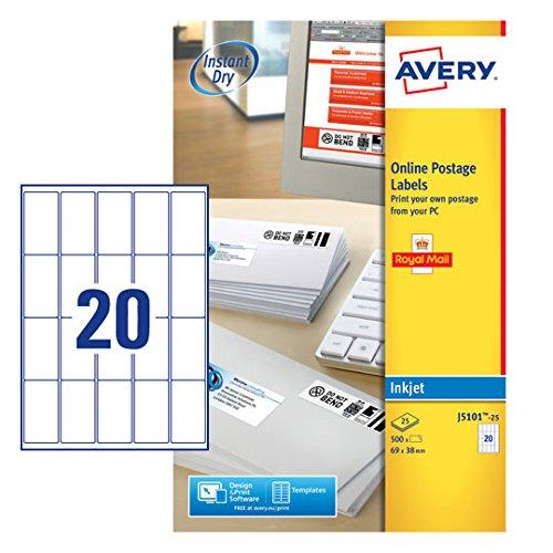 Avery J5101-25 Color blanco 500pieza(s) - Etiqueta autoadhesiva (Color blanco, A4, 69 mm, 38 mm, 500 pieza(s), 25 hojas)