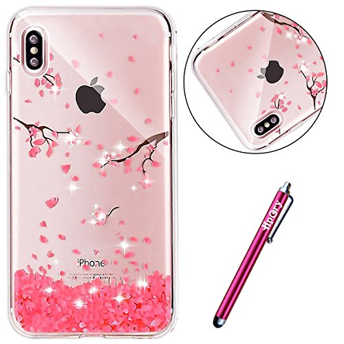 iPhone X Coque TPU Full Body,iPhone X Case Crystal Clear,Hpory Beau élégant Luxury [Full Body] [Tactile 360 Degrés] Ultra Thin Transparent Soft TPU Gel Silicone Cristal Clair Etui Housse de Protection Rose Cerise