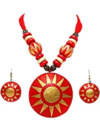 Tandra's Fashion Red And Golden Terracotta Necklace Set For Women And Girls