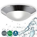 Baddeckenleuchte I Chrom Weiß I Silber I Deckenleuchte I Badezimmer-Lampe I LED-fähig I rund I warm-weiß I max. 40 W I 230 V I IP44 I Ø 310 mm