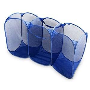 Panier linge 3 compartiments bleu pliable cuisine maison - Panier linge 3 compartiments ...