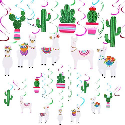 20 Stücke Lama Kaktus Hängen Wirbel Dekorationen Wirbel Decke Dekor für Lama Themea Baby Dusche Geburtstag Party Lieferungen