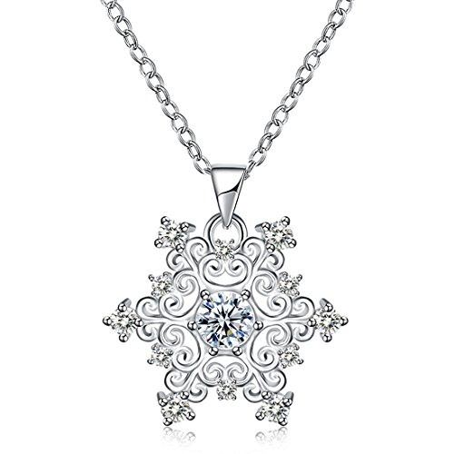 Yellow Chimes A5 Grade Crystal Designer Snowflake Silver Pendant for Women and Girls