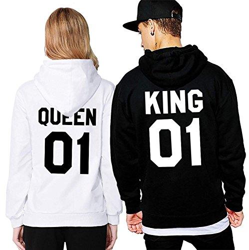 Pärchen-Hoodie King & Queen Negativ INDIVIDUALISIERBAR mit Wunschnummer Mann & Frau Paar-Pullover zum Bedrucken Partnerlook für Sie & Ihn Weiß Queen Large
