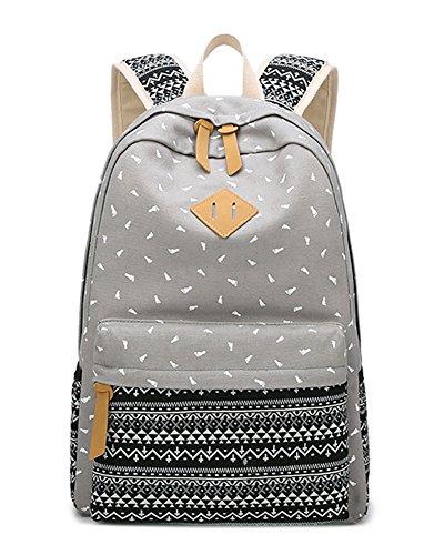 Damen Blume Daypacks Backpack Schultasche Schulrucksäcke - Mädchen Student Outdoor Reisen Rucksack Schwarz Grau