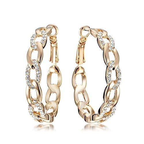 Gemini Ohrhänger Gelb Gold, 18K), attraktive Glitzer & Strass Elemente, Luxus Design, Kettenform, für jeden Anlass, beliebt bei Girls & Damen, 0,6 cm Weite
