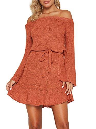 Simplee Apparel Damen Knielang Kleid Elegant Langarm Schulterfrei Strickkleider mit Trompete Ärmel Orange (Rüschen Ärmel Cardigan)