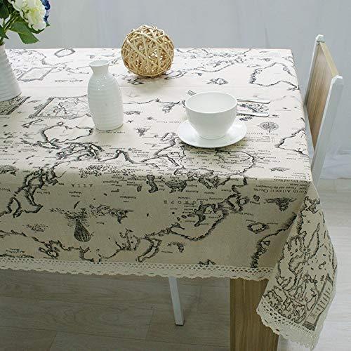 Rivestimento lavabile a prova di polvere per la tavola - tovaglia di lino cotone con stampa mappamondo con pizzo, 90x90cm, ideale per la cena al coperto e all'aperto picnic home decoration tavolo da pranzo top