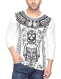 Mimoda Mens Full Sleeves Printed Round Neck T-shirt(White)