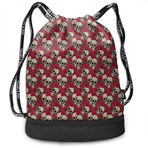 LULABE Printed Drawstring Backpacks Bags,Graphic Skulls and Red Rose Blossoms Halloween Inspired Retro Gothic Pattern,Adjustable String Closure