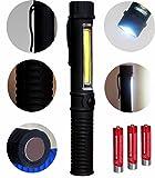 Tragbare Akku LED Arbeitsleuchte Werkstattlampe Taschenlampe und COB Flutlicht mit Befestigungs-Clip und Magnet.Sehr geeignet für Heim, Auto, Camping, Emergency Kit, Werkstatt und mehr!Plus KOSTENLOS Batterien