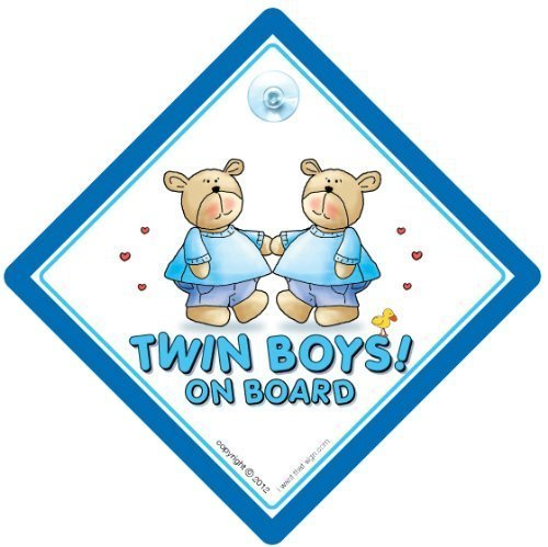 Twins On Board, Twins Jungen On Board, blau Bears, Twins KFZ-Hinweisschild, Baby on Board Zeichen, Baby an Bord, Aufkleber, Bumper Aufkleber, Baby, Baby Auto Schild, Twins, Zwillinge Auto Schild, Twins On Board Auto Schild