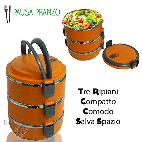 Lunch Box PORTAVIVANDE PORTA VIVANDE PORTAPIETANZE 3 PIANI CONTENITORE TERMICO 2, 1 LITRI (Azzurro)