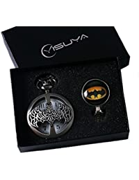 YISUYA Retro hueca de bronce llavero reloj de bolsillo con cadena Mens Boys Half Hunter cosplay Heroes Batman ventiladores Neclace Colgante Caja de Regalo