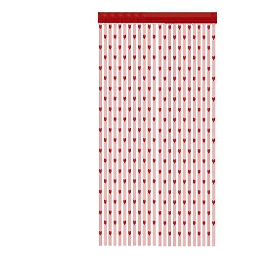 Xmiral Türvorhang Herzförmige Linie Gardine Einfarbig Tüll Translucidus mit Stangen Loch Gardine für Fenster Tür 100x200 cm(Wassermelonenrot)