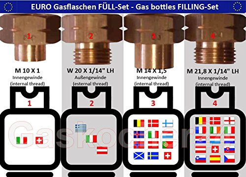 Bouteilles de gaz de 4 pièces Euro Set de remplissage Prise de raccordement übergangsstutzen Adaptateur pour l'Europe