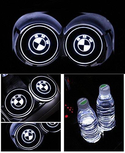 2pcs LED Auto Cup Halter Matte Pad Wasserdicht Flasche Getränke Untersetzer für Universal Auto zur Autodekoration Stimmungslicht Innenraumbeleuchtung wasserdicht (BMW) -