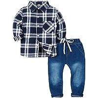 Zoerea 2 Pezzi Camicia a Quadri a Maniche Lunghe + Pantaloni Jeans con  Coulisse per Bambino 6e1d865e7a44