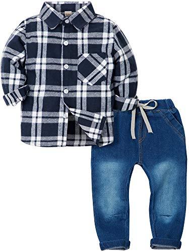 d3ad7b787eda8 ZOEREA 2 Pièces Vêtements Ensemble de Bébé Garçon Manches Longue Carreaux  Chemise + Bleu Jeans Pantalon