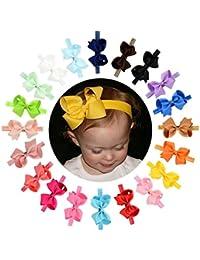 Fasce per Bambina Fasce per Capelli colore puro alta Elastico Bowknot per Bambini  bambino 20pcs a76851bb485e