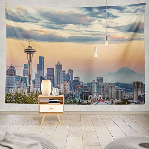 Tapisserie Seattle Skyline Seattle Washington Space Needle Business Orange City Dusk Downtown Cityscape Sunset Travel USA Decorative Tapestry,60X60 Inches Wall Hanging Tapestry for Bedroom Living Ro