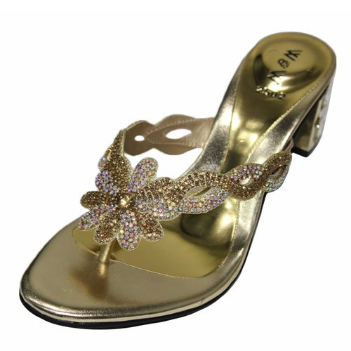 Wear & Walk UK , Damen Sandalen Mehrfarbig Black/Gold/Silver Gold
