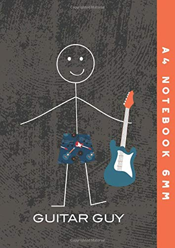 A4 Notebook 6mm: Bass Guitar Guy Lined Exercise Book