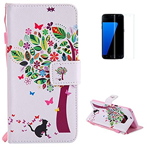 Samsung Galaxy S8 Premium Flip Leather Case,[with Free Screen Protector] KaseHom Magnetic Closure Wallet Type Elegant Colourful Tree Butterfly Unique Pattern Design with [Card Slots][Anti-Scratch Bumper] Multi-function Protective Cover Holster for Samsung Galaxy S8