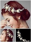 #6: VOGUE Golden Colour Party Wedding Bridal Fancy Hair Accessories Headpiece Headband Hairband Hair Clip Wedding Tiara Premium Quality