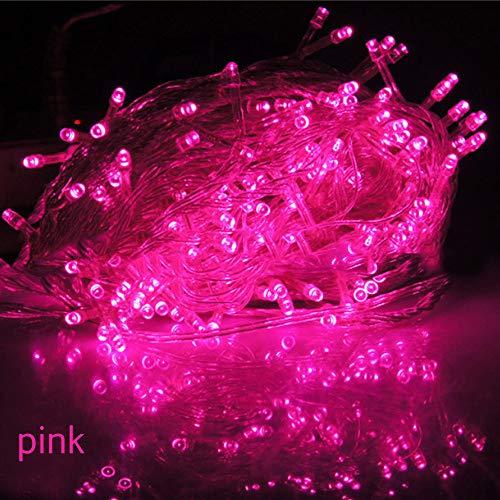 TianranRT Weihnachten Baum Fee Party Lichter Wasserdicht 8-Farben Ansteuerbar 100 LED 10M (Rosa)