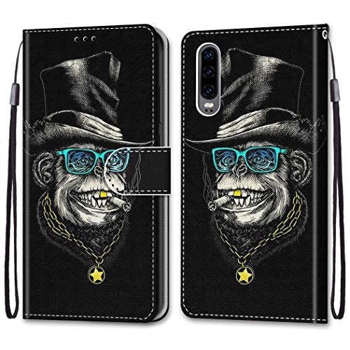 Nadoli Bunt Leder Hülle für Huawei P30,Cool Lustig Tier Blumen Schmetterling Entwurf Magnetverschluss Lanyard Flip Cover Brieftasche Schutzhülle mit Kartenfächern