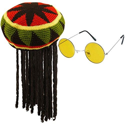 Labreeze Adults Jamaican Rasta Hat with Dreadlocks & Yellow Frame Glasses Caribbean Set