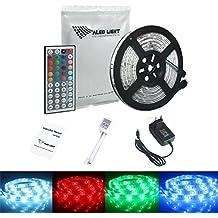 ALED LIGHT® Striscia LED 5M RGB 150 LED 5050 SMD LED Impermeabile Strip Con DC 12V Alimentatore+ 44 Tasti Telecomando+ Ricevitore+ Istruzioni.(RGB)