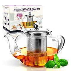 Idea Regalo - AckMond 600 ml teiera in vetro da con filtro in acciaio inox inserto,In forma di mele