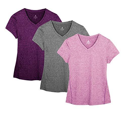 icyzone Sport T-Shirt Damen Kurzarm Laufshirt - Trainingsshirt Fitness Shirt Oberteile Rundhals (L, Charcoal/Red Bud/Pink)