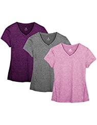 icyZone® Damen Sport T-Shirt Running Fitness Shirts Sportbekleidung Kurzarm Oberteile Shortsleeve Top