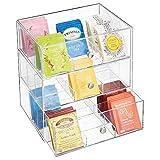 mDesign Pratico porta bustine da te a 3 cassetti - Mobiletto cucina con cassetti, per spezie, tè in bustina, cialde caffè, ecc. - Elegante portaspezie in plastica - trasparente