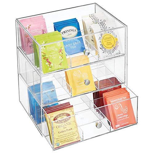 mDesign Küchen Organizer mit 3 Schubladen - Aufbewahrungsbox für Teebeutel, Kaffeepads, Süßungsmittel und mehr - Teekiste aus Kunststoff - durchsichtig (Kunststoff-3 Schubladen-organizer)