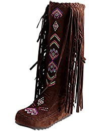 d7a5bcabaa2e3d Artfaerie Damen Keilabsatz Halbschaft Stiefel mit Fransen und Stickerei  Wedges Mid Calf Boots Retro Herbst Winter…