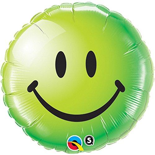 Qualatex Folien-Luftballon mit Smiley-Gesicht, rund, 46 cm (Einheitsgröße) (Grün)
