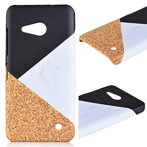 Duro Marble Cover per Microsoft Lumia 550, Design Creativo Marmo Pattern Rigida Custodia, UltraSlim Dura PC Hard Case Protettiva Antiurto Durevole Copertura - Nero + Bianco + Giallo