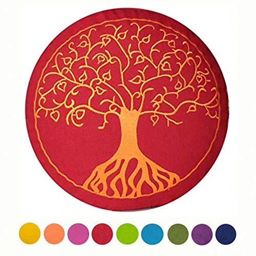 maylow - Yoga mit Herz Meditationskissen-Yogakissen mit Stickerei Baum des Lebens 33 x 15 cm-mit Dinkelspelz gefüllt-Bezug und Inlett 100% Baumwolle, Buddhistisch Rot