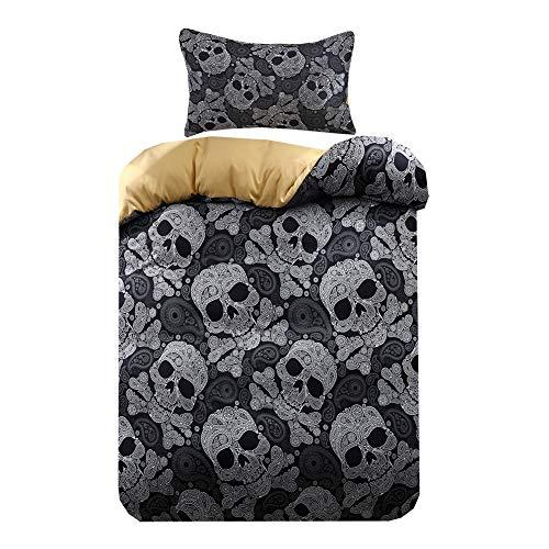 Skull Bettbezug 135 x 200 cm + 1 Kissenbezug 50 x 75 cm, Bettwäsche-Set Thema Schädel Design, Set 2 teilig Warme Winter, Bettwäsche Musterdesign Deko für Kinder - Schwarz, Einzelbett
