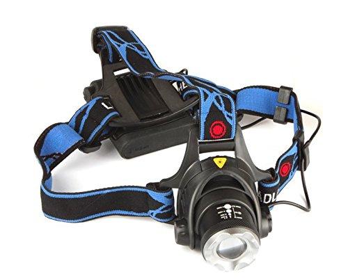 2000 Lumen Ultrahelle Stirnlampe XML T6 Zoom LED Kopflampe Headlight Biking Jogging Walking (4 mal R6 AA Akku)