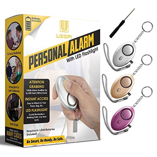 Allarme personale, 3 pezzi vooki 130db mini allarme portachiavi con la funzione di illuminazione, monitoraggio / panico / sicurezza / attacco / protezione donna bambino e anziani