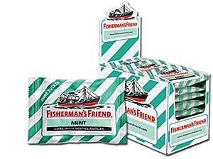 Fisherman's Friend Mint | Karton mit 24 Beuteln | Minze und Menthol Geschmack | Zuckerfrei für frischen Atem