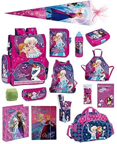 Disney die Eiskönigin Schulranzen-Set 21tlg. Sporttasche, Regenschutz, Schultüte 85cm Frozen rosa...