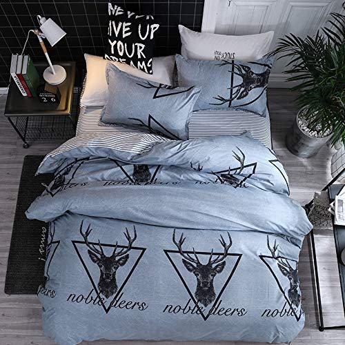 DAIDAICSYP Heimtextilien Tröster/Bettbezug Pillow Shams Fall Flachbettlaken Dark Blue Flower Stripe Bettwäsche-Set